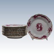 "9 Meissen ""Rich Court Dragon"" Dessert Dishes"