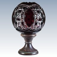 19th C. French Cut to Clear Glass Newel Post Finial