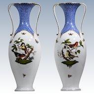 Herend Blue Rothschild Bird Pair of Strap Handled Vases