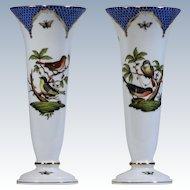 Herend Blue Rothschild Bird Pair of Vases