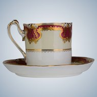 Royal Crown Derby Raised Gold Cup & Saucer