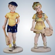 2 Wien Figurines Boy & Girl Tennis Players