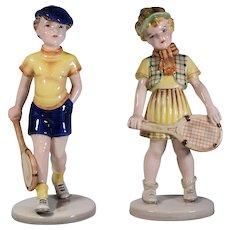 2 Wien Figurines Boy & Girl Tennis Players