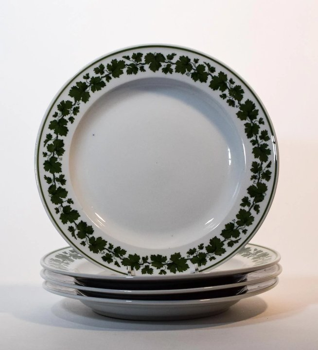 4 Meissen Green Ivy Plates & 4 Meissen Green Ivy Plates : KPM Arts and Antiques   Ruby Lane