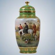 Vienna Handpainted Vase w/Hunt Scene