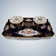 Meissen Double Inkwell Hand Painted Blue with Flowers