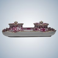 Meissen Double Inkwell Hand Painted Pink Indian Tree Pattern