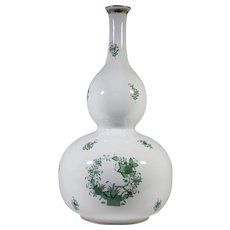 """Large 17"""" Tall Herend Indian Tree Green Double Gourd Vase"""