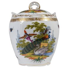 Dresden Hand Painted Covered Bisquit Jar
