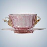 Salviati Venetian Handblown Glass Finger Bowl & Under Plate.