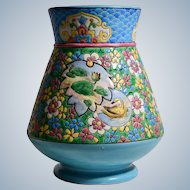 Emaux De-Longwy Vase with Flowers & Fans