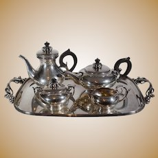 International Sterling Silver Alphonse La Paglia Designed Coffee & Tea Set