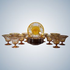 Moser Bohemian  Finely Engraved Amber 10 Footed Bowls & 10 Saucers