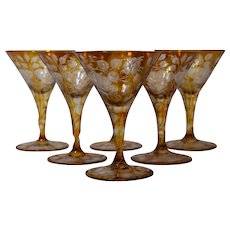 Moser Bohemian Finely Engraved Amber 6 Martini/Cocktail Glasses