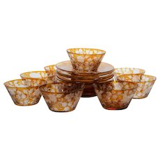 9 Moser Bohemian Amber Glass Bowls and Underplates