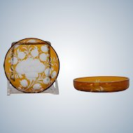 2 Moser Bohemian Amber Cut to Clear Glass Butter Dishes