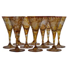 10 Moser Bohemian Amber Cut to Clear Glass Large Water Goblets