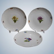 3 Nymphenburg Handpainted Dessert Plates