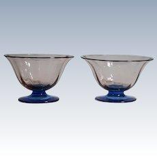 2 Steuben Footed Rosa & Celeste Blue Glass Bowls