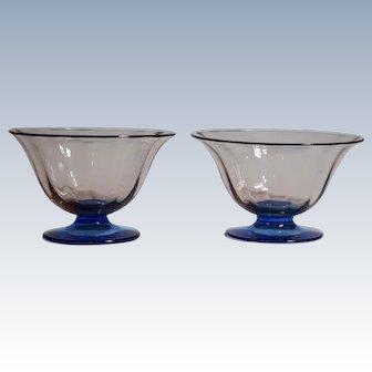 2 Stueben Footed Rosa & Celeste Blue Glass Bowls