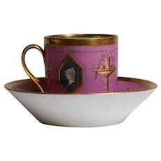 Sevres / Paris Porcelain Neo Classical Cup & Saucer