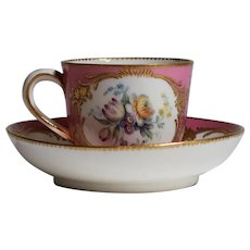 Sevres 18th Century Hand Painted Cup & Saucer