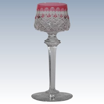 Baccarat Cranberry Cut to Clear Geometric Wine Glass.
