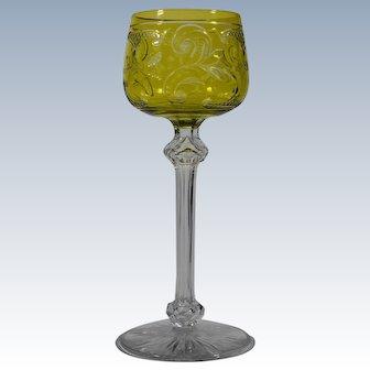 Baccarat Chartruese Cut to Clear Edwardian Style Wine Glass