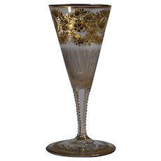 Moser Gilded & Engraved Wine Glass