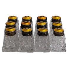 Set of 12 Vintage Sterling & Guilloche Enamel Salt & Pepper Shakers