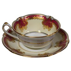 Royal Crown Derby Art Nouveau Magenta with Raised Gold Cup & Saucer