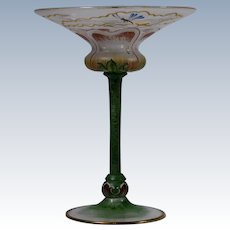 Rare Venetian Murano Pauly Enameled Champagne Glass