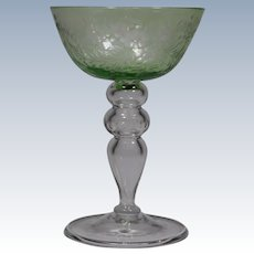 Steuben Green Cut to Clear Champagne Glass