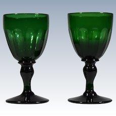 2 Antique English Green Glass Wine Glasses Circa 1840