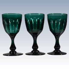 3 Antique English Teal Wine Glasses Circa1840