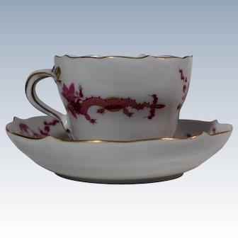 1 Meissen Rich Court Pink Dragon Pink Demi Tasse Cup with Gilding