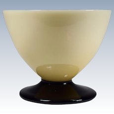 Steuben Art Deco Ivory & Mirror Black Champagne Glass.
