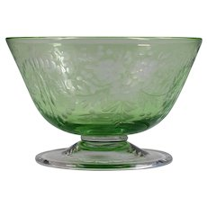 Steuben Green Engraved Cut to Clear Footed Glass Bowl