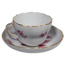 Meissen Teacup & Saucer Floral Motif Hand Painted