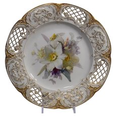 KPM Hand Painted Cabinet Plate with Intricate Pierced Rim with Flowers & Gold Gilding
