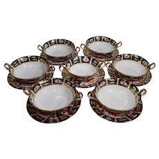 7 Royal Crown Derby Cream Soup Bowls & Saucers