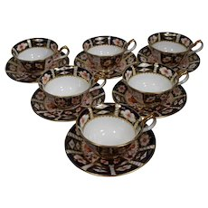 6 Royal Crown Derby Tea Cups & Saucers Traditional Imari