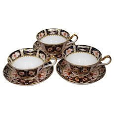 3 Royal Crown Derby Cups & Saucers Traditional Imari 2451