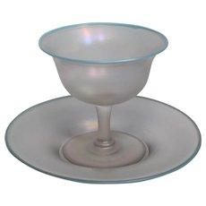 Steuben Light Blue Jade Sherbert Cup & Underplate Verre De Soie