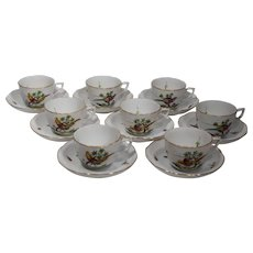 8 Herend Demitasse Cups & Saucers with Rare Bird of Paradise Pattern