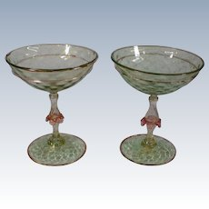 Antique Venetian Murano Salviati Wedding Toasting Glasses