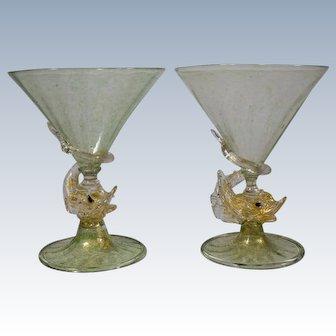 Pair Venetian Salviati Murano Wedding Toasting Glasses with Dolphins