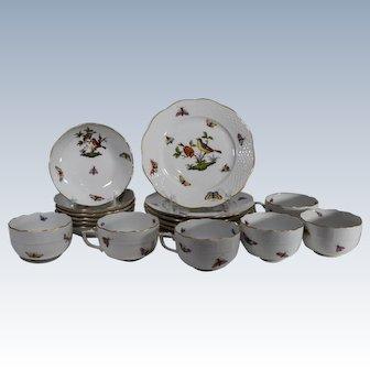 Antique Herend Dessert Set 6 Tea Cups & Saucers & 6 Dessert Plates