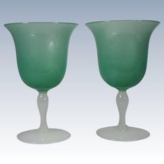 Pair Steuben Jade & Alabaster Water Goblets