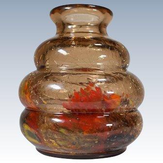 Ernest Baptiste Leveille Nouveau Glass Vase w/Crackle Design